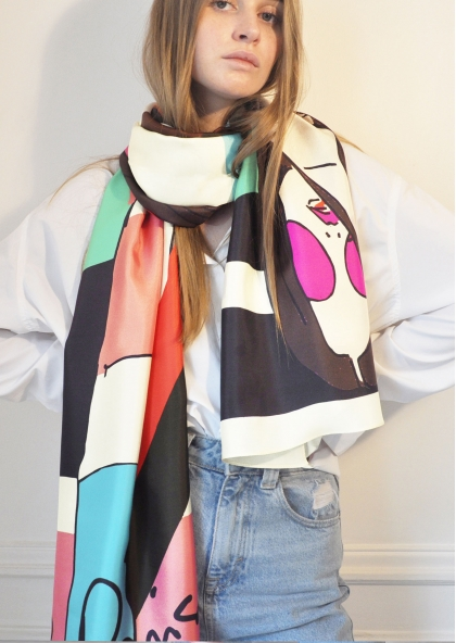 Foulard Pop in Paris Rose